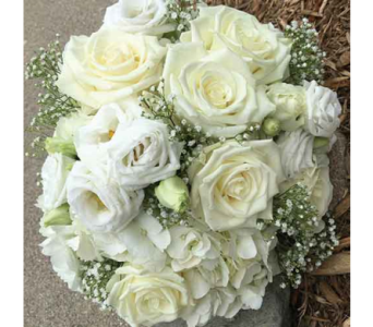 All White Bridal Bouquet in Chelsea MI, Chelsea Village Flowers