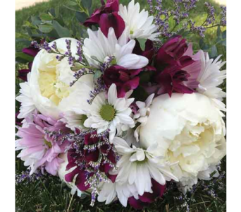 White & Burgundy Bouquet in Chelsea MI, Chelsea Village Flowers