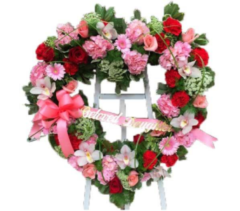 Pink and Red Heart Wreath in Princeton, Plainsboro, & Trenton NJ, Monday Morning Flower and Balloon Co.