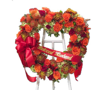 Sunset Heart Wreath  in Princeton, Plainsboro, & Trenton NJ, Monday Morning Flower and Balloon Co.