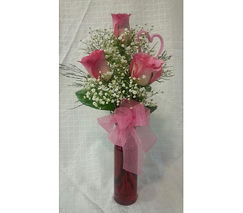 TRIPLE VERIGATED ROSE VASE in New Paltz NY, The Colonial Flower Shop