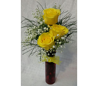 TRIPLE YELLOW ROSE VASE in New Paltz NY, The Colonial Flower Shop