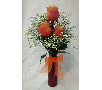 TRIPLE CHERRY BRANDY ROSE VASE in New Paltz NY, The Colonial Flower Shop