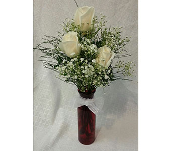 triple white rose vase in New Paltz NY, The Colonial Flower Shop