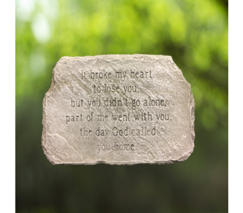 It Broke My Heart Memorial Stone in Indianapolis IN, George Thomas Florist
