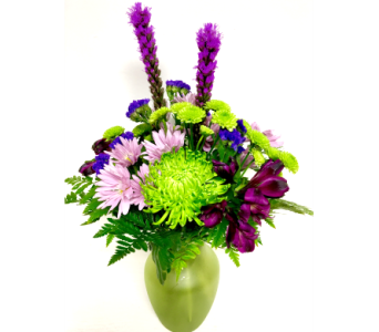 Lush and Fresh - Green Frosted Glass 8 inch Vase in Wyoming MI, Wyoming Stuyvesant Floral