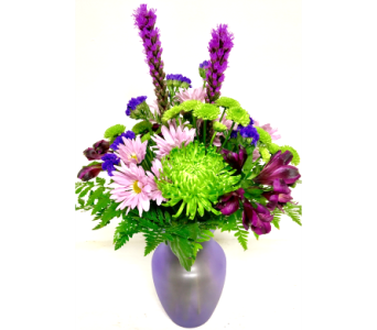 Lush and Lavender - 8 inch Frosted Lavender Vase in Wyoming MI, Wyoming Stuyvesant Floral