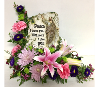 Peace I Leave You Plaque Arrangement in Wyoming MI, Wyoming Stuyvesant Floral