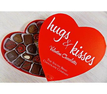 14oz Hugs and Kisses Heart Box in Indianapolis IN, Steve's Flowers and Gifts