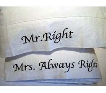 Mr Right & Mrs always right Pillow case set in Bellevue WA, CITY FLOWERS, INC.