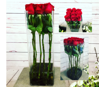 Modern Roses in Glass in Wellington FL, Wellington Florist