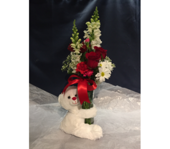 Red Rose Bear Hug in Markham ON, Freshland Flowers
