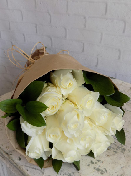 Wrapped Roses in White in Clarks Summit PA, White's Country Floral