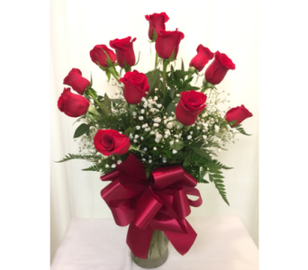 DOZEN RED ROSES with BABIES BREATH in Titusville FL, Floral Creations By Dawn