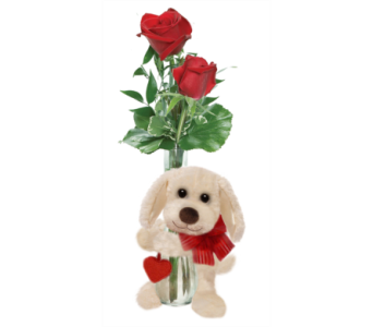Triple Rose Bud Vase with Bear in Huntington WV, Archer's Flowers and Gallery