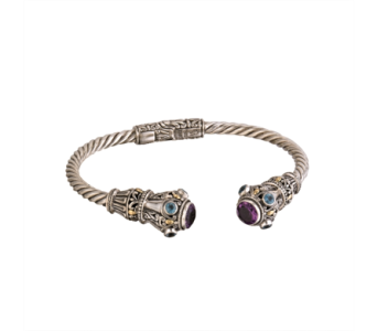 SS AMETHYST/BLUE TOPAZ HINGED CUFF in Winter Haven FL, DHS Design Guild