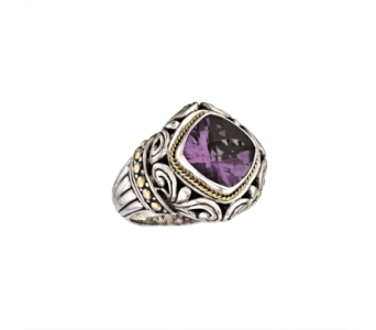 SS SS 18 K BALI DESIGN RING WITH AMETHYST in Winter Haven FL, DHS Design Guild