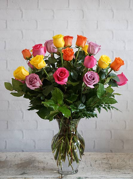 Two Dozen Rainbow Roses in Fort Myers FL, Fort Myers Floral Designs