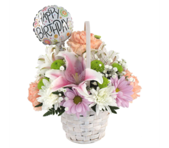 Birthday Basket Bouquet in Southfield MI, Thrifty Florist