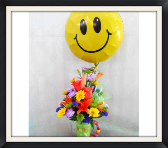 Smile Latte with Balloon in Tyler TX, The Flower Box