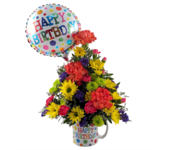 Happy Birthday Polka Dot Mug in Southfield MI, Thrifty Florist