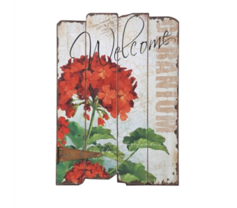 Geranium Welcome Sign in Eugene OR, Dandelions Flowers