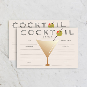 Rifle Paper Cocktail Recipe Cards in Dallas TX, Dr Delphinium Designs & Events