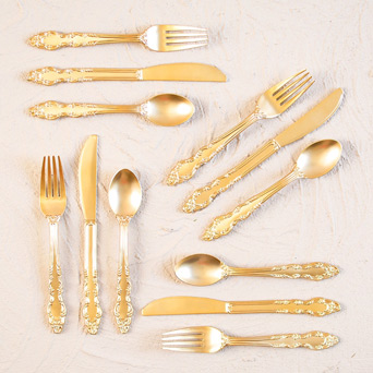 Golden Party Flatware in Dallas TX, Dr Delphinium Designs & Events