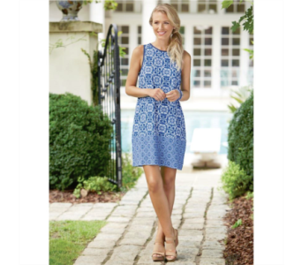 China Blue Rosie Shift Dress in Virginia Beach VA, Fairfield Flowers
