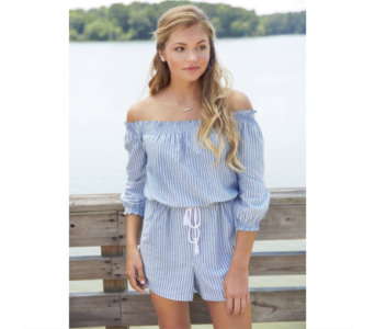 Oliver Off the Shoulder Romper in Virginia Beach VA, Fairfield Flowers