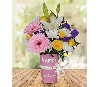 Happy Birthday Mug in Dallas TX, In Bloom Flowers, Gifts and More
