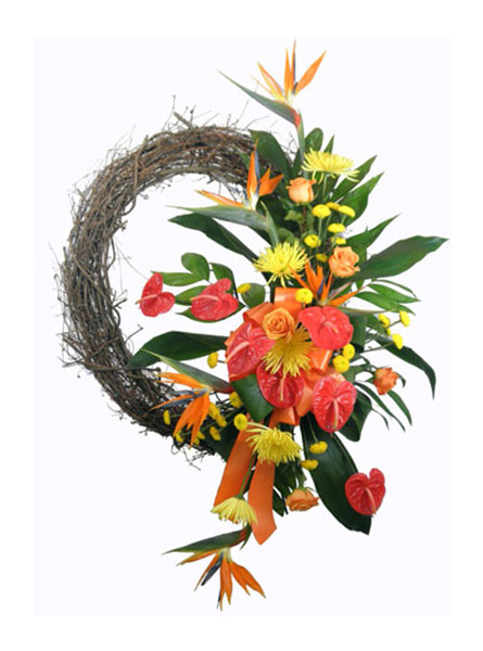 Tropical Paradise Wreath in Arlington Heights IL, Sylvia's - Amlings Flowers