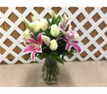 White Roses and Stargazers in Purcellville VA, Purcellville Florist