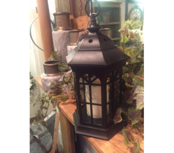 Black Iron Decorative Lantern with LED Candle in Owensboro KY, Welborn's Floral Company