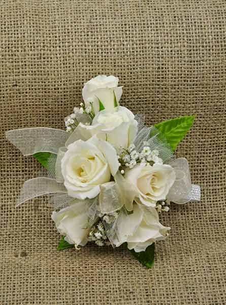 White Roses Corsage in Arlington Heights IL, Sylvia's - Amlings Flowers