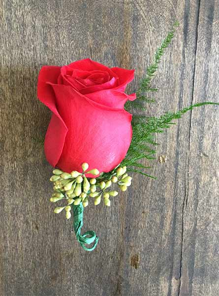 Red Rose Boutonniere in Raleigh NC, Fallon's Flowers