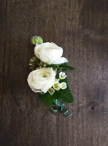 Ranunculus Double Boutonniere in Raleigh NC, Fallon's Flowers