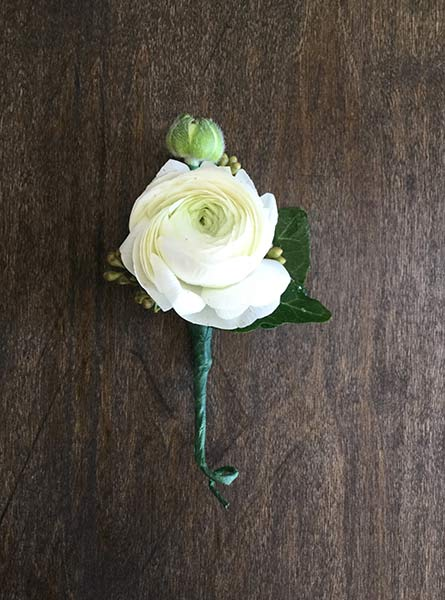 Ranunculus Single Boutonniere in Raleigh NC, Fallon's Flowers
