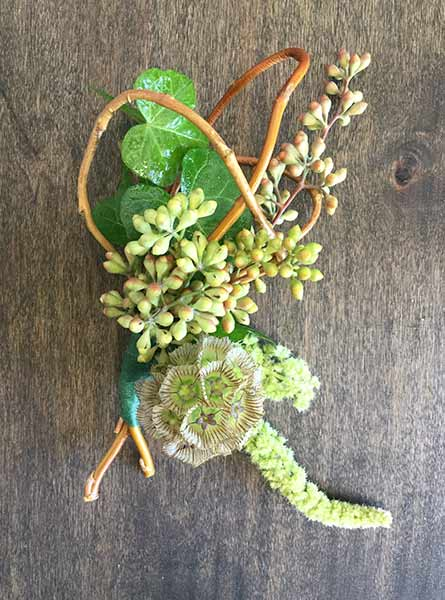 Scabiosa & Mixed Greens Boutonniere in Denver CO, Lehrer's Flowers
