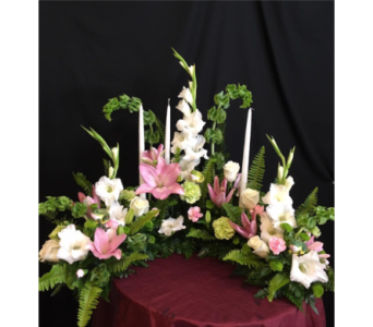 Memorial Half Wreath in New Iberia LA, Breaux's Flowers & Video Productions, Inc.