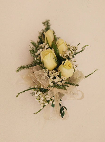 White Roses Corsage in Raleigh NC, Fallon's Flowers