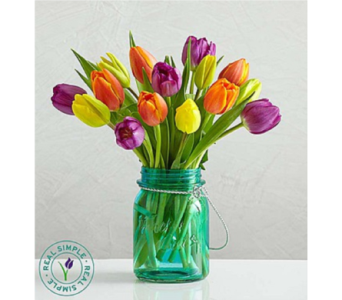 Assorted Tulips with Mason Jar by Real Simple� in Huntington WV, Archer's Flowers, Inc.