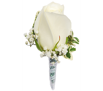 White Rose Boutonniere in Madison WI, Felly's Flowers