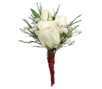 White Spray Rose Boutonniere in Madison WI, Felly's Flowers