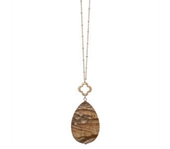 Clover Tear Drop Necklace-Picture Jasper in Virginia Beach VA, Fairfield Flowers