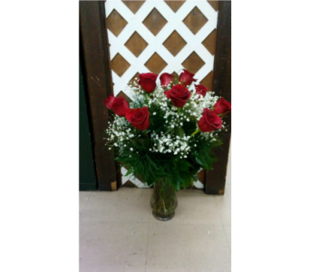 Red Roses designed with Baby's Breath in Purcellville VA, Purcellville Florist