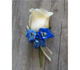 Delightful Delphinium Boutonniere in Muskegon MI, Wasserman's Flower Shop