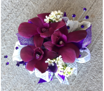 Purple Orchid Wrist Corsage in Schofield WI, Krueger Floral and Gifts