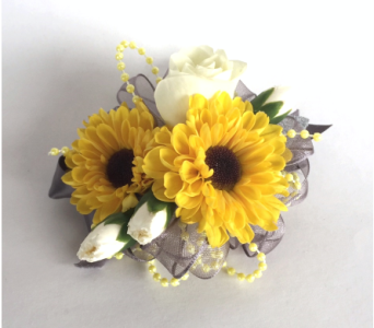 Yellow White Grey Wrist Corsage in Schofield WI, Krueger Floral and Gifts