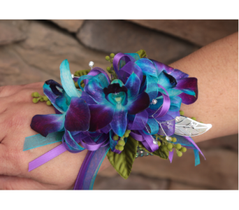 Blue Orchid Corsage in Meridian ID, Meridian Floral & Gifts